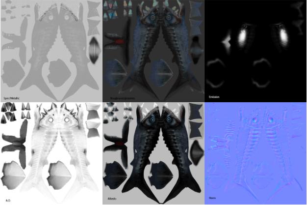 Emissive Bioluminescence texture maps