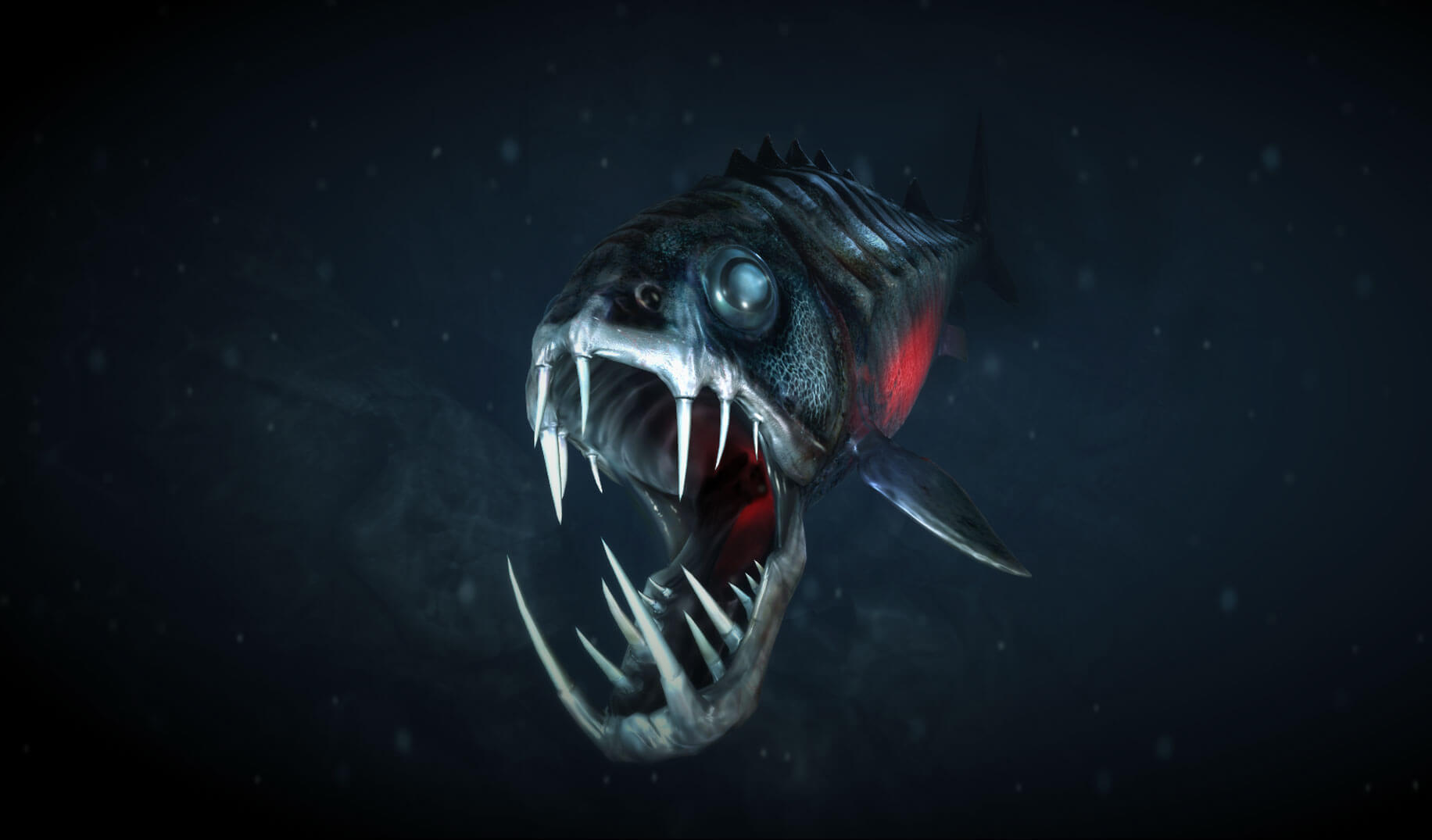 Emissive Bioluminescence flare fish